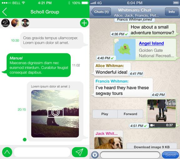 Концепт интерфейса WhatsApp для iOS 7